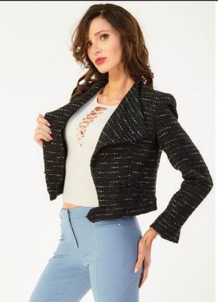 Брендовый черный пиджак жакет reserved этикетка