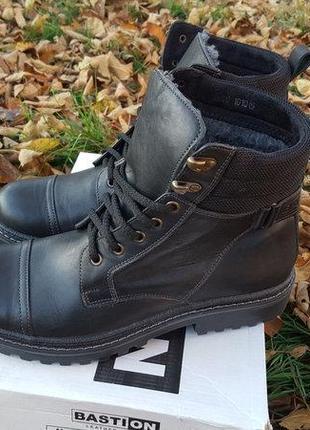 Мужские кожаные ботинки bastion best winter black 044ч.