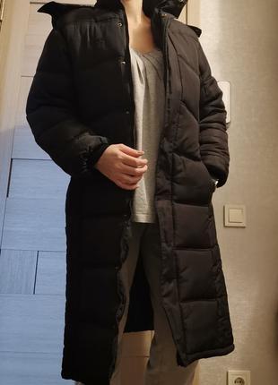 Синтепоновое женское пальто зимнее,длинный пуховик