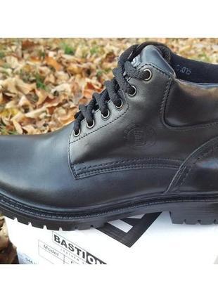 Мужские кожаные ботинки military leather black 048ч