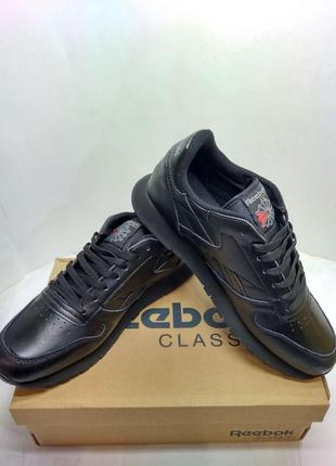 Кроссовки черные кожаные reebok