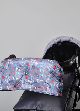 Муфта зимняя цельная для рук на санки или коляску на флисе с п...