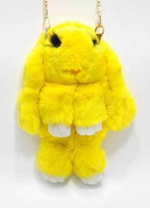 🐰💛 рюкзак кролик сумка-рюкзак жёлтый из меха как игрушка