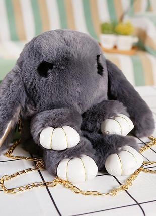 🐰рюкзак кролик сумка-рюкзак тёмно серый из меха как игрушка