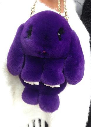 🐰💜 рюкзак кролик сумка-рюкзак фиолетовый из меха как игрушка