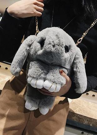 🐰 рюкзак кролик сумка-рюкзак светло серый из меха как игрушка