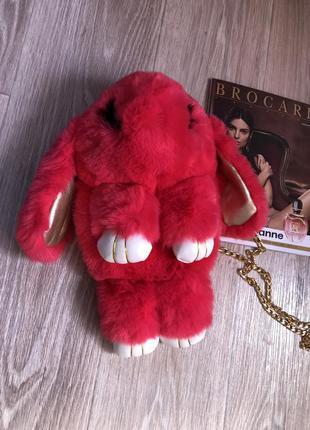 🐰💖 рюкзак кролик сумка-рюкзак ярко розовый из меха как игрушка