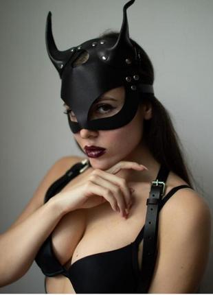 Кожаная маска,маска кошки, маска чертик \чертовка ручной работ...