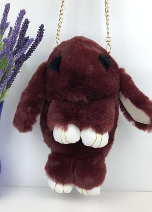 🐰💖 рюкзак кролик сумка-рюкзак бордового цвета из меха как игрушка