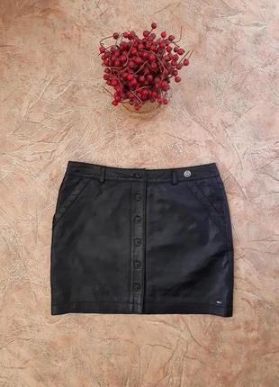 Шикарная винтажная кожаная мини юбка на пуговичках оригинал  t...