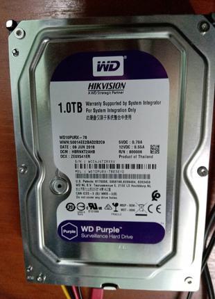 """Жесткий диск WD Purple WD10PURX, 3,5"""", 1Тb - под видеонаблюдение"""