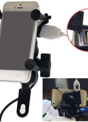 Держатель для телефона на мотоцикл с USB портом KSmoto HD-11
