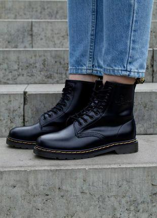Dr. martens 1460 black  c лого женские стильные ботинки наложка