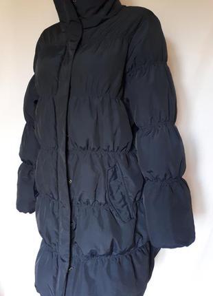 Темно- синий удлиненный пуховик vrs woman (размер 38-40)
