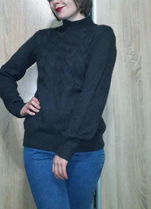 Базовый теплый шерстяной свитер с горловиной-стойкой красивого...