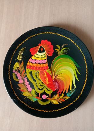 Тарелка декоративная,  деревянная.