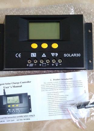 Контролер заряда для солнечных панелей Solar 30 А 12/24В