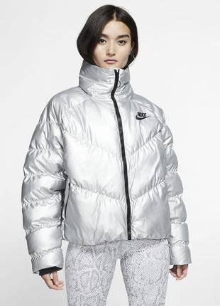 Серебрянная дутая куртка  - пуховик nike synthetic fill jacket...