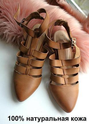 Кожаные натуральные туфли коричневые на каблуке new look 7\40р...