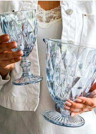 Сервиз из цветного стекла голубые бокалы кувшин дзеркальный
