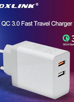 Быстрое зарядное устройство VOXLINK QC 3,0 2 порта USB