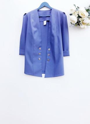 Красивый кардиган пиджак без застежки стильный волошковый жакет