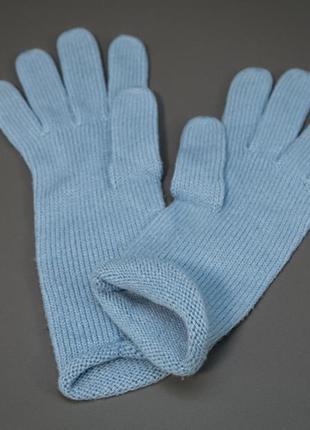 Вязвные акриловые перчатки голубые. без бирок.