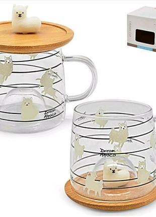 Оригинальные кружки чашки стаканы с деревянной крышкой блюдцем