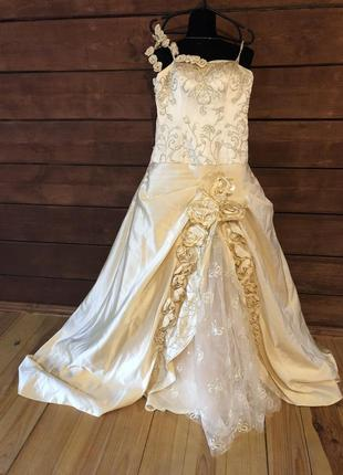 Вечернее платье цвет шампань свадебное платье