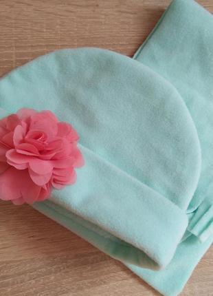 Набор шапка шапочка шарф мятного цвета флис для девочки