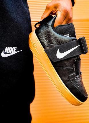 💥 nike air force 1 black utility gum 💥 мужские кожаные кроссов...