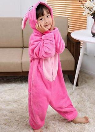 Кигуруми стич розовый малиновый детская пижама