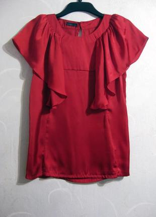 Блузка vero moda красная воланы ткань как шёлк