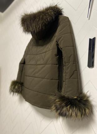 Парка куртка 38 s/m мех енота