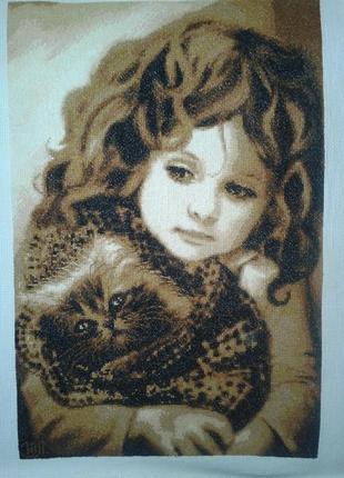 """Картина в интерьер, подарок """"Девочка с котом"""""""