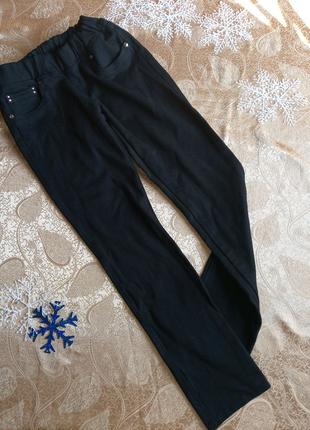 Тёплые стрейчевые подростковые черные джинсы скинни xs, s, до 164