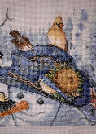 """Картина в интерьер, подарок """"Снеговик с птицами"""""""