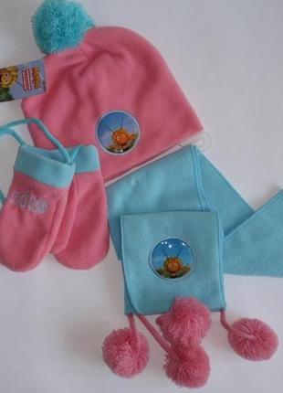 Комплект для девочки флисовая шапка шарф варежки, р. 2-4 года
