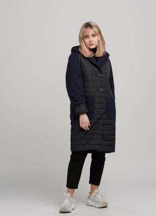 Женское пальто комбинированное с двух видов ткани