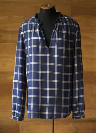 Темно синяя теплая блузка в клетку женская mark o`polo, размер...