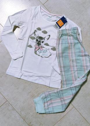 Хлопковая пижама на девочку принт олень, кофта и штаны