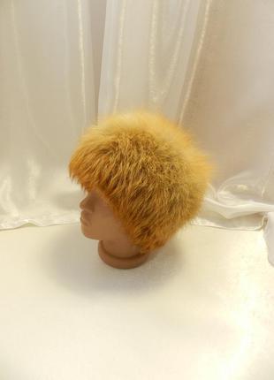 Натуральный мех  лиса шапка есть залысинка на затылке на бубоны