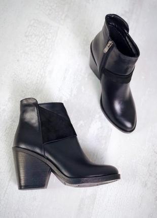 Ботинки женские натуральная кожа на удобном каблуке