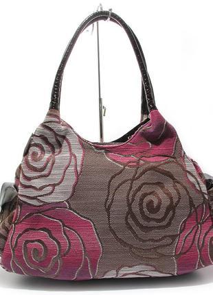 Коричневая большая женская сумка на плечо из текстиля вышитая ...