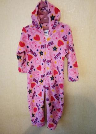 Слип пижама махра  peppa pig свинка пеппа 2 года р.92