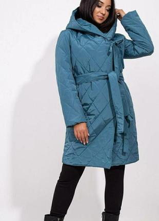 Стеганое женское пальто бирюзовое