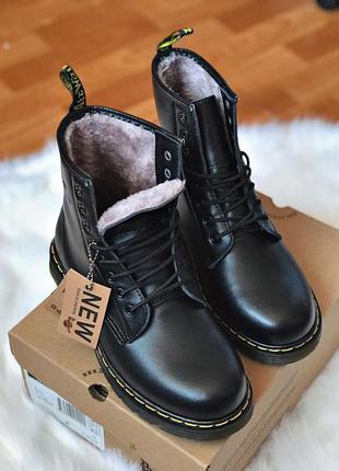 Шикарные мужские зимние ботинки сапоги dr. martens 1460 black fur