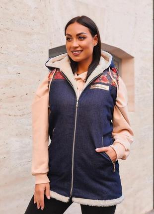 Женская теплая джинсовая жилетка на меху (552)