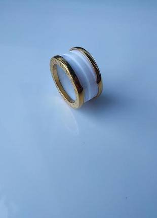Кольцо zero керамика + мед сплав 17 размер, лимонная позолота