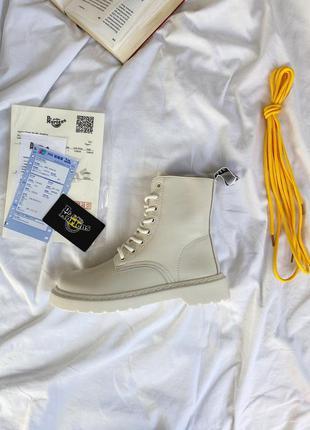 Шикарные кожаные осенние ботинки сапоги dr.martens 1460 white ...